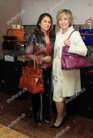 Anita Choudry and Lana Marks and her collection of hand bags