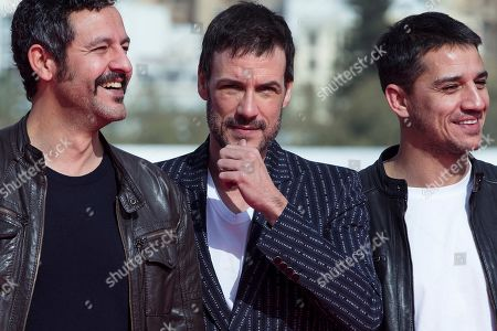 Andorran actor Isak Ferriz (L) and Spanish actors Daniel Grao (C) and Carlos Librado 'Nene' pose for the photographers during the presentation of the film 'Gigantes' (Giants), by Spanish film director Enrique Urbizu, as part of the 22th Malaga Film Festival in Malaga, southern Spain, 18 March 2018. The festival runs from 15 March to 24 March.