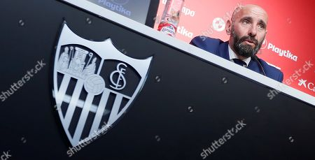 Sevilla FC's new Sport General Manager Ramon Rodriguez Verdejo 'Monchi' reacts during his presentation held at Sanchez Pizjuan stadium, in Seville, southern Spain, 18 March 2019.