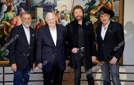 Ronnie Dunn, Kix Brooks, Ray Stevens, Jerry Bradley. Ray Stevens, from left, Jerry Bradley, Ronnie Dunn, and Kix Brooks pose at a press conference announcing that they will be inducted into the Country Music Hall of Fame, in Nashville, Tenn