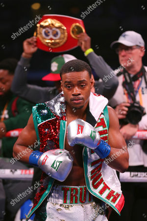 Errol Spence Jr. seen in the ring before an IBF World Welterweight Championship boxing bout against Mikey Garcia, in Arlington, Texas