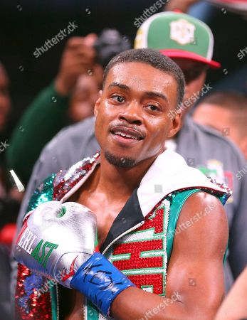 Errol Spence Jr. gestures for the TV cameras before an IBF World Welterweight Championship boxing bout against Mikey Garcia, in Arlington, Texas