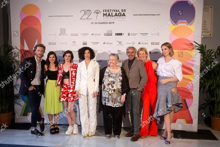 Ana Duato (2-R), Imanol Arias (3-R), Maria Galiana (4-R) pose with other cast members during the presentation of the 20th season of the show 'Cuentame como paso' on occasion of the 22nd Malaga Film Festival, in Malaga, Spain, 20 March 2019. 'Cuentame como paso' is considered to be a classic in Spanish TV series history, running now on its 20th season starting back in 2001.