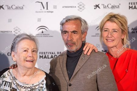Ana Duato (R), Imanol Arias C), and Maria Galiana (L) pose during the presentation of the 20th season of the show 'Cuentame como paso' on occasion of the 22nd Malaga Film Festival, in Malaga, Spain, 20 March 2019. 'Cuentame como paso' is considered to be a classic in Spanish TV series history, running now on its 20th season starting back in 2001.