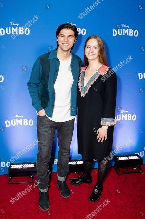 "Luke Bilyk, Kyla Young. Luke Bilyk and Kyla Young pose at the Canadian premiere of ""Dumbo"", in Toronto"