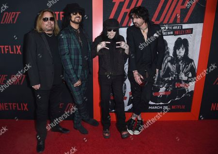 """Nikki Sixx, Vince Neil, Mick Mars, Tommy Lee. Vince Neil, from left, Nikki Sixx, Mick Mars and Tommy Lee, of Motley Crue, arrive at the world premiere of """"The Dirt"""", at ArcLight Hollywood in Los Angeles"""