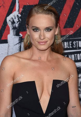 """Leven Rambin arrives at the world premiere of """"The Dirt"""", at ArcLight Hollywood in Los Angeles"""