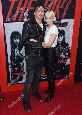 """Donovan Leitch, Libby Mintz. Donovan Leitch, left, and Libby Mintz arrive at the world premiere of """"The Dirt"""", at ArcLight Hollywood in Los Angeles"""