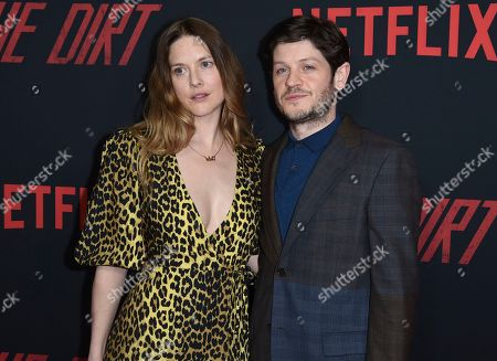 """Zoe Grisedale, Iwan Rheon. Zoe Grisedale, left, and Iwan Rheon arrive at the world premiere of """"The Dirt"""", at ArcLight Hollywood in Los Angeles"""