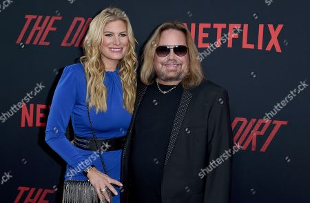 """Stock Picture of Vince Neil, Rain Andreani. Vince Neil, right, and Rain Andreani arrive at the world premiere of """"The Dirt"""", at ArcLight Hollywood in Los Angeles"""