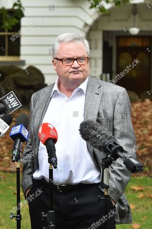 Lawyer Peter Gordon, who is representing Will Connolly, speaks to the media during a press conference in Treasury Gardens, Melbourne, Australia, 19 March 2019. Peter Gordon spoke on matters relating to Will Connolly, who is also known as 'Egg Boy', after he broke an egg on senator Fraser Anning head last week.