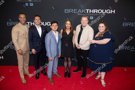 DeVon Franklin, Samuel Rodriguez, John Smith, Roxann Dawson, Pastor Jason Noble, Chrissy Metz. L to R) Producer DeVon Franklin, Reverend and Executive Producer Samuel Rodriguez, John Smith, Director Roxann Dawson, Pastor Jason Noble and actress Chrissy Metz are seen at on the red carpet for the premiere of Breakthrough at the Highland Park Village Theatre, in Dallas, Texas