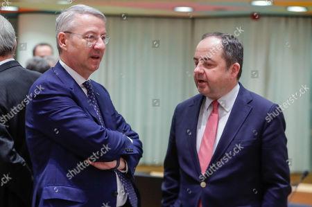 George Ciamba, Romanian Minister Delegate for European Affairs (L) and Konrad Szymanski, Polish European affairs minister at the start of a EU general affairs Council (GAC) at the European Council in Brussels, Belgium, 19 March 2019.