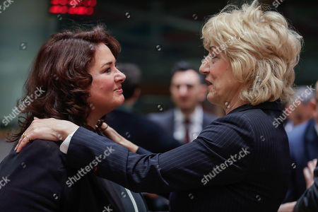 Stock Image of Minister for Social Dialogue, Consumer Affairs and Civil Liberties in Malta, Helena Dalli (L) and Greek Alternate Minister of Foreign Affairs Sia Anagnostopoulou at the start of a EU general affairs Council (GAC) at the European Council in Brussels, Belgium, 19 March 2019.