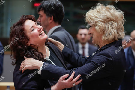 Minister for Social Dialogue, Consumer Affairs and Civil Liberties in Malta, Helena Dalli (L) and Greek Alternate Minister of Foreign Affairs Sia Anagnostopoulou at the start of a EU general affairs Council (GAC) at the European Council in Brussels, Belgium, 19 March 2019.