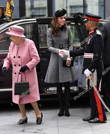 Editorial photo of Queen Elizabeth II and Catherine Duchess of Cambridge visit King's College to Open Bush House, London, UK - 19 Mar 2019
