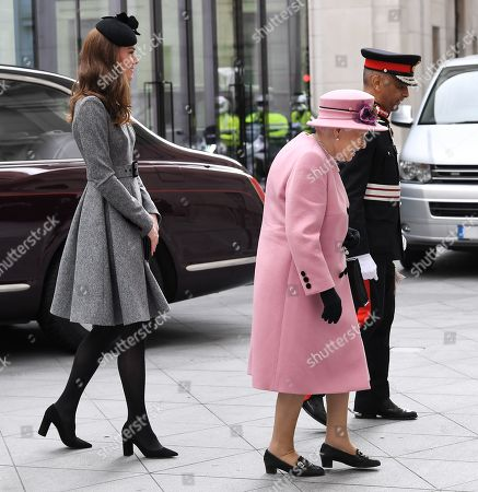 Stock Photo of Queen Elizabeth II and Catherine Duchess of Cambridge