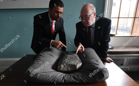 His Excellency Dr Salih Husain Ali (L) with British Minister of the Middle East and North Africa Alistair Burt with an Iraqi 'kudurru' (boundary stone) at the British Museum in London, Britain, 19 March 2019. The kudurru is set to be returned to Iraq from the British Museum. The stone was seized at Heathrow Airport by UK Border Force in 2012. Many archaeological sites in southern Iraq were looted between 1994 and 2004.