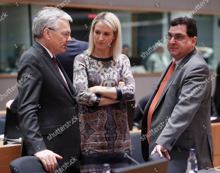(L-R) Belgium Foreign minister Didier Reynders, Irish Minister of State for European Affairs, Helen McEntee and Spanish State Secretary for the European Union Luis Marco Aguiriano Nalda, chat during Article 50 EU general affairs council in Brussels, Belgium,  19 March 2019.