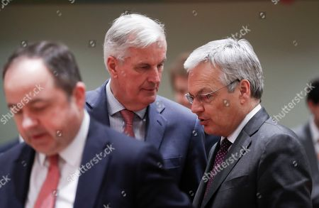 (L-R) Konrad Szymanski, the Polish European affairs minister, Michel Barnier the European Chief Negotiator of the Task Force for the Preparation and Conduct of the Negotiations with the United Kingdom under Article 50, and Belgium Foreign minister Didier Reynders chat during Article 50 EU general affairs council in Brussels, Belgium,  19 March 2019.