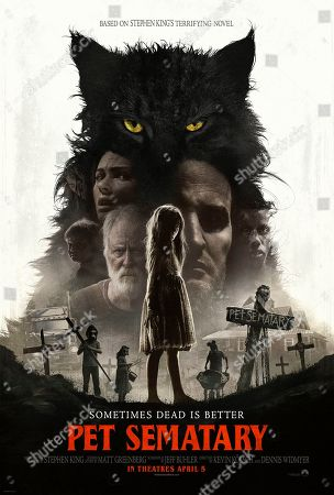 Pet Sematary (2019) Poster Art. Hugo Lavoie as Gage Creed, Amy Seimetz as Rachel Creed, John Lithgow as Jud Crandall, Jete Laurence as Ellie Creed and Jason Clarke as Louis Creed