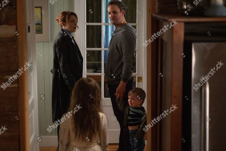 Stock Picture of Amy Seimetz as Rachel Creed, Jason Clarke as Louis Creed, Hugo Lavoie as Gage Creed and Jete Laurence as Ellie Creed