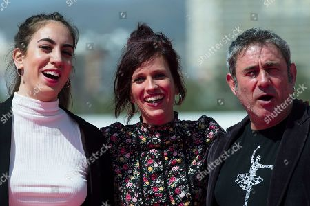 Spanish filmmaker Neus Ballus (C) poses next to Spanish actress Elena Andrada (L) and actor Sergi Lopez (R) during the photocall of the movie 'Staff Only', as part of the 22nd Malaga Film Festival, in Malaga, southern Spain, 19 March 2019. Ballus' film competes in the official section of the festival, which runs from 15 March to 24 March.