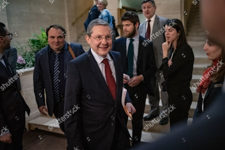 French President of the Senate Commission Law Philippe Bas arrives to attend a hearing of the French Interior Minister concerning the Yellow Vests crisis, in Paris, France, 19 March 2019.  Violence erupted on the 18th week of the 'Yellow Vests' protests, demonstrators looting stores and setting multiple fires on the Champs-Elysees avenue in Paris.