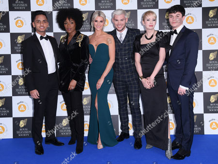 Hollyoak's cast members Ijaz Rana, Rachel Adedeji, Sarah Jayne Dunn, Kieron Richardson, Lysette Anthony and Aedan Duckworth