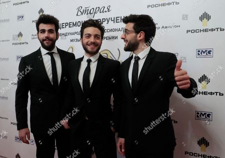 Members of Italian pop-opera trio Il Volo Ignazio Boschetto, Gianluca Ginoble and Piero Barone pose ahead of the 2nd award ceremony of the International Professional Music Award 'BraVo' in the field of classical arts at the Bolshoi Theatre in Moscow, Russia, 19 March 2019.