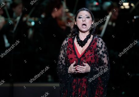 Spanish soprano Montserrat Marti, daugther of late Montserrat Caballe, performs during the 2nd award ceremony of the International Professional Music Award 'BraVo' in the field of classical arts at the Bolshoi Theatre in Moscow, Russia, 19 March 2019.