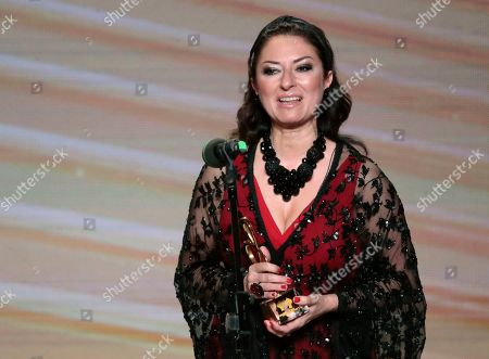 Spanish soprano Montserrat Marti speaks after receiving a trophy for her late mother Montserrat Caballe during the 2nd award ceremony of the International Professional Music Award 'BraVo' in the field of classical arts at the Bolshoi Theatre in Moscow, Russia, 19 March 2019.