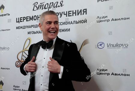 Italian tenor Alessandro Safina poses ahead of the 2nd award ceremony of the International Professional Music Award 'BraVo' in the field of classical arts at the Bolshoi Theatre in Moscow, Russia, 19 March 2019.