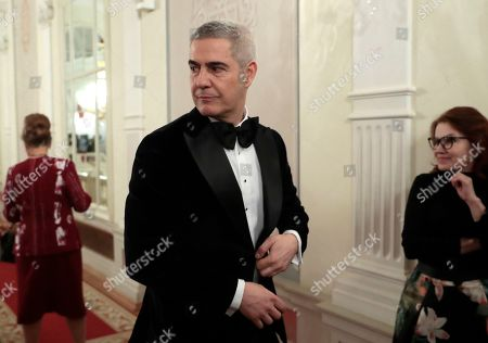 Stock Photo of Italian tenor Alessandro Safina poses ahead of the 2nd award ceremony of the International Professional Music Award 'BraVo' in the field of classical arts at the Bolshoi Theatre in Moscow, Russia, 19 March 2019.