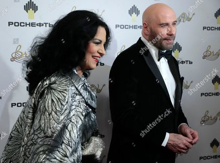 John Travolta and Romanian soprano Angela Gheorghiu (L) attend the 2nd award ceremony of the International Professional Music Award 'BraVo' in the field of classical arts at the Bolshoi Theatre in Moscow, Russia, 19 March 2019.