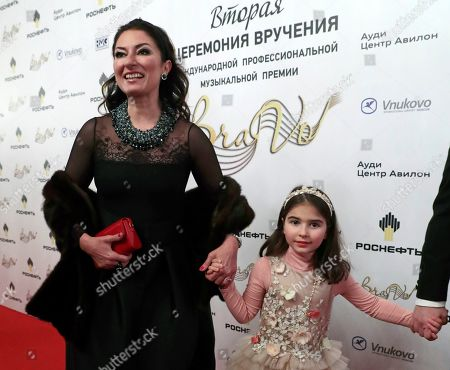 Spanish soprano Montserrat Marti (L), daugther of late Montserrat Caballe, arrives with her daughter Daniela at the 2nd award ceremony of the International Professional Music Award 'BraVo' in the field of classical arts at the Bolshoi Theatre in Moscow, Russia, 19 March 2019.