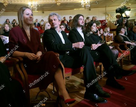 Russian celebrity TV host, journalist and former presidential candidate Ksenia Sobchak (L) and Russian stage director Konstantin Bogomolov (2-L) and Russian conductor Philipp Chizhevsky (3-L) attend the 2nd award ceremony of the International Professional Music Award 'BraVo' in the field of classical arts at the Bolshoi Theatre in Moscow, Russia, 19 March 2019.