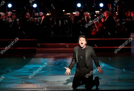 Italian tenor Vittorio Grigolo performs during the 2nd award ceremony of the International Professional Music Award 'BraVo' in the field of classical arts at the Bolshoi Theatre in Moscow, Russia, 19 March 2019.