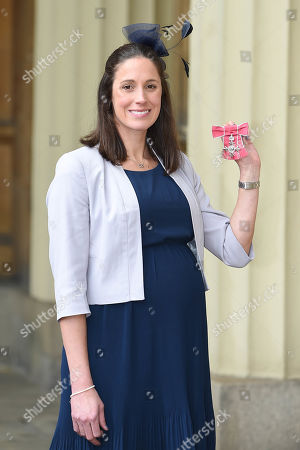 Stock Picture of Helen Jenkins, British professional triathlete received an MBE at the Investiture Ceremony at Buckingham Palace.