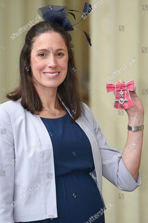 Stock Photo of Helen Jenkins, British professional triathlete received an MBE at the Investiture Ceremony at Buckingham Palace.