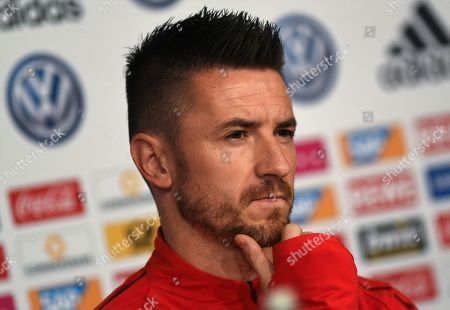 Serbian national soccer team player Antonio Rukavina attends a press conference in Wolfsburg, Germany, 19 March 2019. Serbia will face Germany in an International Friendly match on 20 March 2019.
