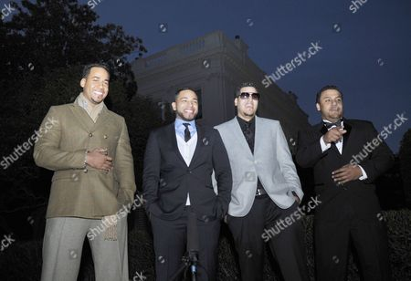 "Musicians Aventura, (L- R) Anthony ""Romeo"" Santos, Henry Santos Jeter, Max Santos, and Lenny Santos"