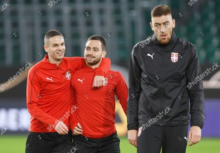Serbian national soccer team players (L-R) Mijat Gacinovic,  Andrija Zivkovic and Milan Rodic attend a training session in Wolfsburg, Germany, 19 March 2019. Serbia will face Germany in an International Friendly match on 20 March 2019.