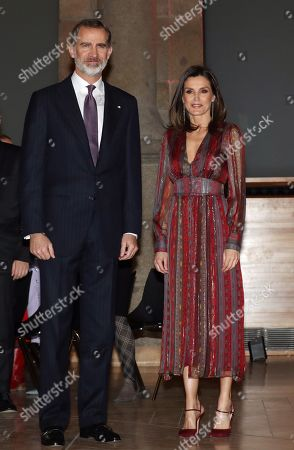 Spain's King Felipe VI (L) and Queen Letizia (R) attend the National Culture Awards ceremony held at the Prado Museum in Madrid, Spain, 19 March 2019. The awards, which were selected in 2017, will be delivered to Spanish writers Rosa Montero and Fernando Aramburu, journalist Matias Prats, fashion designer Agatha Ruiz de la Prada and bullfighter Enrique Ponce.