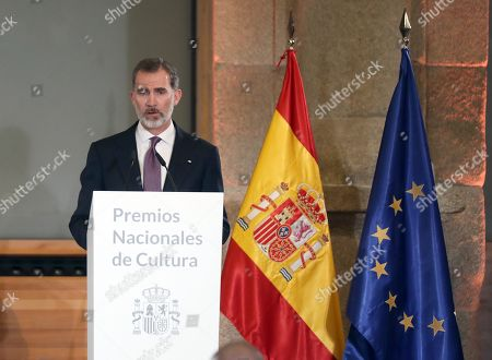 Spain's King Felipe VI delivers a speech as he attends the National Culture Awards ceremony held at the Prado Museum in Madrid, Spain, 19 March 2019. The awards, which were selected in 2017, will be delivered to the Spanish writers Rosa Montero and Fernando Aramburu, journalist Matias Prats, fashion designer Agatha Ruiz de la Prada and bullfighter Enrique Ponce.