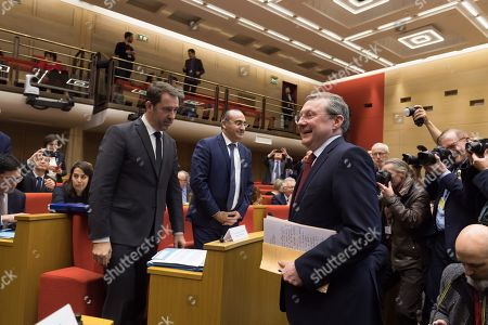 "Christophe Castaner, Laurent Nunez and Philippe Bas.  French Economy Minister Bruno Le Maire, French Interior Minister Christophe Castaner and French Junior Minister attached to the Interior Ministry Laurent Nunez appear before the Senate Law Commission following last weekend's violent ""yellow vest"" protests"