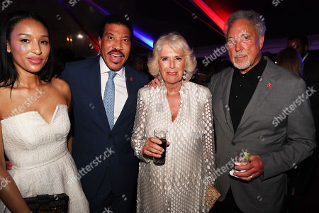 Stock Photo of Lisa Parigi, Lionel Richie, Camilla Duchess of Cornwall and Tom Jones