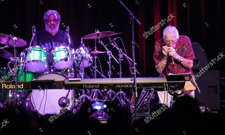 Stock Picture of British blues musician John Mayall (L) performs on stage as part of his ' John Mayall 85th Anniversary Tour' in Akvarium Klub in Budapest