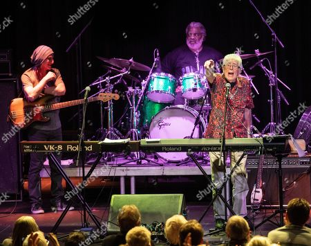 British blues musician John Mayall (L) performs on stage as part of his ' John Mayall 85th Anniversary Tour' in Akvarium Klub in Budapest
