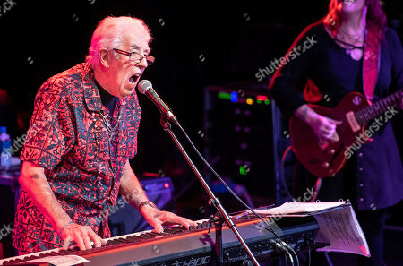 Stock Image of British blues musician John Mayall (L) performs on stage as part of his ' John Mayall 85th Anniversary Tour' in Akvarium Klub in Budapest